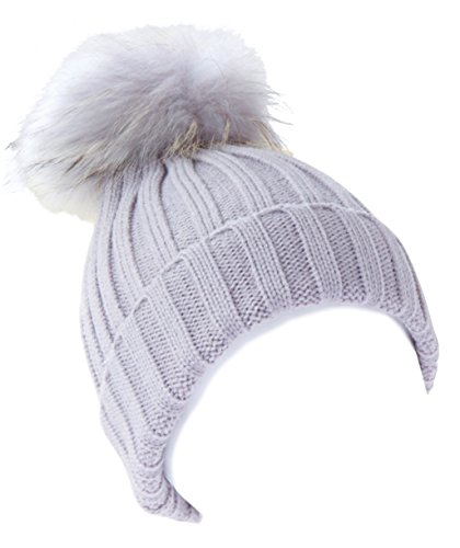 MILLY REICH Wool blend ribbed raccoon fur pom pom hat (Light gray)