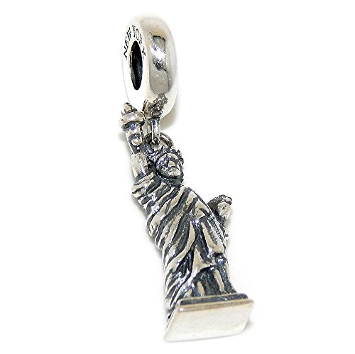 Ellis Island New York Harbor - Pro Jewelry 925 Solid Sterling Silver Dangling Statue of Liberty Charm Bead