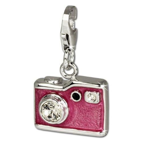 SilberDream Charm pink enameled camera white Zirconia 925 Sterling Silver Pendant Lobster Clasp ()