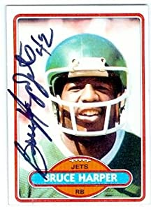 Bruce Harper autographed football card (New York Jets) 1980 Jets No.384