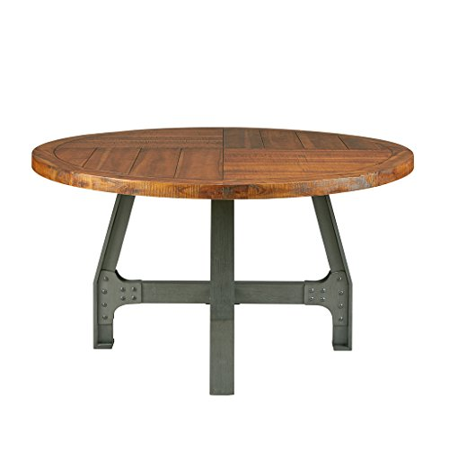 Ink+Ivy Lancaster Round Dining Table - Solid Wood, Metal Base Dining Room Table - Amber Wood, Industrial Style Kitchen Table - 1 Piece Metal Frame Wooden Top Round Table For Dining Room ()