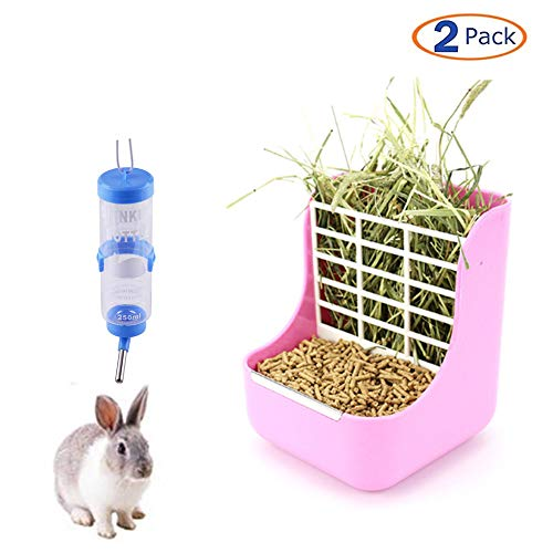 2 Pack Rabbit Hay Feeders Rack,Bunny Water Bottles Dispenser,Hay Food Bin Feeder, 2 in 1 Feeder Bowls Double use for Grass/Food for Small Animal Supplies Rabbit Chinchillas Guinea Pig - Rabbit Chinchilla