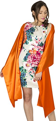(BlackButterfly Satin Shawl Bridesmaid Wedding Wrap Scarf (Orange))