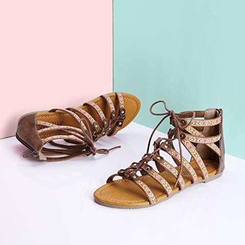 SANDALUP Folk Custom Gladiator Summer Roman Flat Sandals for