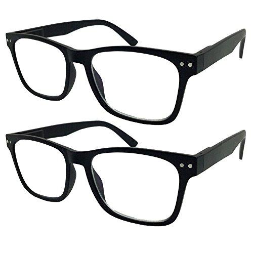 2 Pack Bulk Multi Focus 3 Power Progressive Reading Glasses - No Line (2 Pack Black, 3.00)