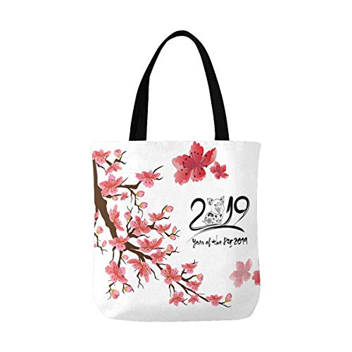 InterestPrint Happy New Year 2019 Chinese New Year of the Pig Cherry Blossom Washable Canvas Tote Bag Resuable Grocery Bags Shopping Bags Canvas Tote Bag Perfect for Crafting Decorating -