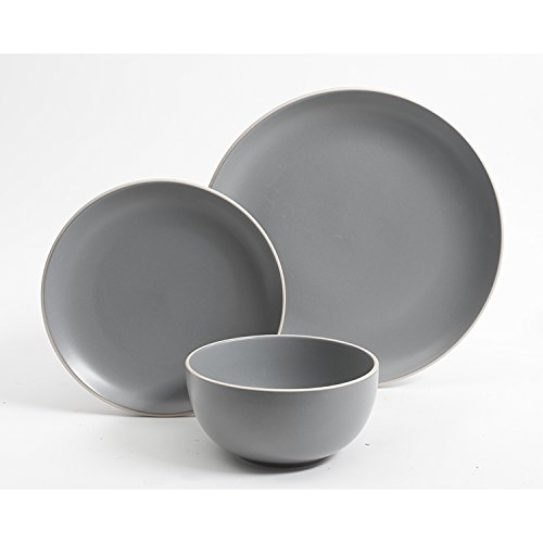 Gibson Home 114388.12RM Rockaway 12-Piece Dinnerware Set Service for 4, Grey Matte by Gibson Home (Image #4)