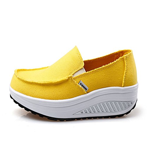 Womens Fashion Sneakers Round Top Slip On With Thict Canvas Waking Shoes By Btrada Yellow iXbo7Wg0O4