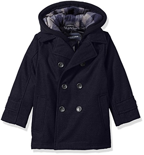 London Fog Little Boys Double Breasted Faux Wool Hooded Coat, Navy, (Double Breasted Hooded Wool)