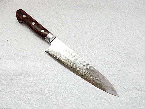 Yoshihiro VG-10 Hammered Damascus, HAA Japanese Chef's Knife/Gyuto Mahogany Handle (180mm/7.1