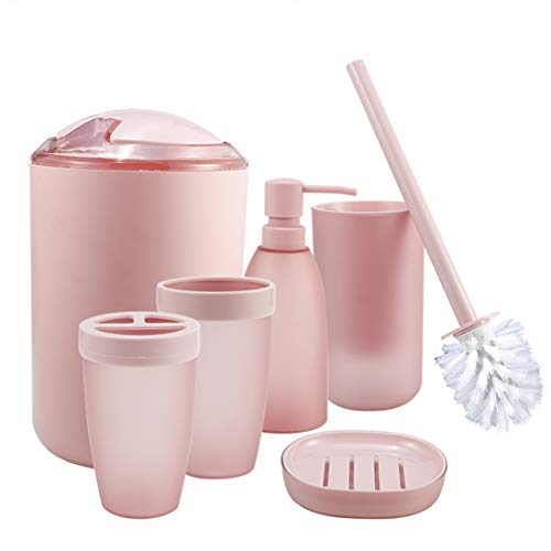 (iMucci Pink 6pcs Bathroom Accessories Set - with Trash Can Toothbrush Holder Soap Dispenser Soap and Lotion Set Tumbler Cup)