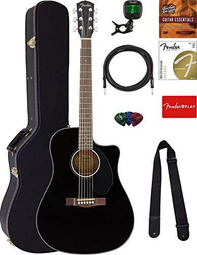 Fender CD-60SCE Dreadnought Acoustic-Electric Guitar - Black Bundle with Hard Case