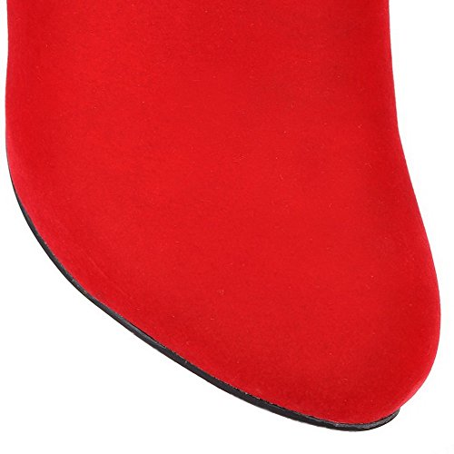 AllhqFashion Mujeres Sólido Tacón ancho Plataforma Puntera Redonda Cremallera Botas con Encaje Rojo