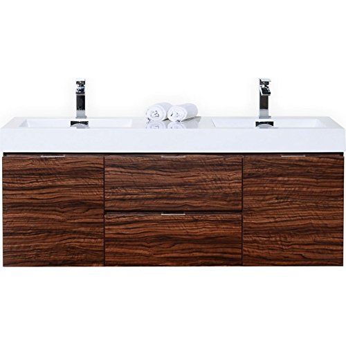 Bliss 60″ Walnut Wall Mount Double Sink Modern Bathroom (Beige Wall Mount Sink)