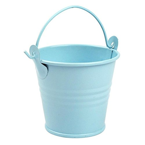 Yalulu 10Pcs 3 Sizes Metal Bucket Tin Candy Box Buckets Gift Pails for Bridal Wedding Party Baby Showers Favors Decoration (Blue, 5.5*7.5*8 cm)