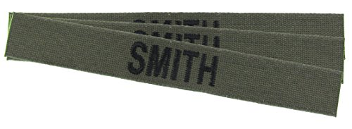 Custom O.D. Green Military Name Tapes - 3 Pack - Cotton Webbing Olive Drab