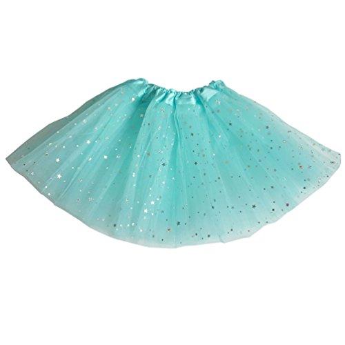 Csbks Girls Sparkle Layered Tulle Tutu Skirt Princess Ballet Dance Mini Tutus Light Blue (Mini Skirt Big Star)