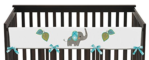 Diamond Patterned Tie (Sweet Jojo Designs Mod Elephant Long Front Rail Guard Baby Teething Cover Crib Protector)
