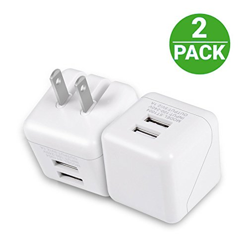 Wall Charger, Amoner Dual USB Wall Charger 5V/2.1A 2Pack Por
