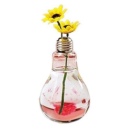 Cdet 1X Bombilla florero de vidrio floreros de terrario lindas macetas de vidrio de sobremesa moderno piso de la boda plantador de aire florero decorativo: ...