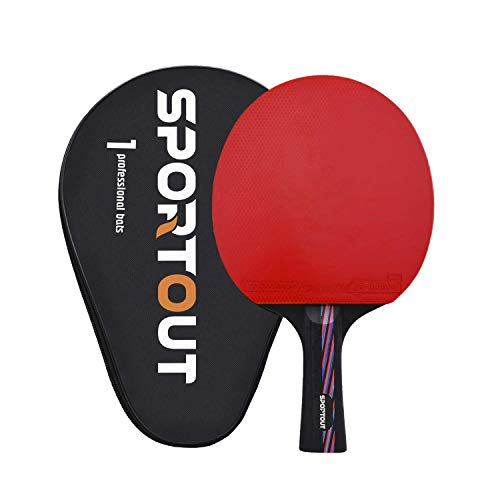 Sportout Sriver-He Rubber Table Tennis Paddle, Professional Pingpong Racket with Case, 9-ply Wood and 8-ply Carbon Blade (Best Table Tennis Paddle Rubber)