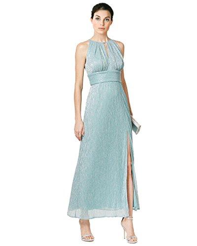 R&M Richards Metallic Knit Keyhole Halter Evening Gown Dress
