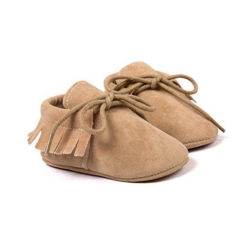 etrack-online Infant Boys Fringe de piel sintética ante cordones mocasín zapatos de cuna, Rosa, 12-18 meses caqui