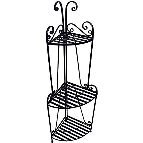 Black Corner Bakers Rack 3 Tier Plant Shelf Standing Metal Shelving Unit Outdoor Indoor Deck Patio Three Levels, Iron 57 Inch