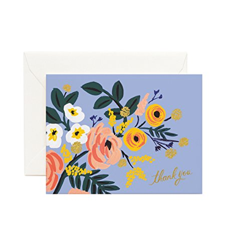 Robin Floral Thank You Note Cards by Rifle Paper Co. -- Set of 8 Cards and Envelopes