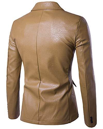 Kasen Simili Unie Veste Kaki Couleur Revers Homme Cuir Manches Pu Bouton Longues Blazer rUq1rwp