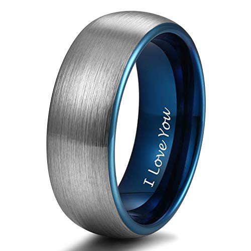 6 Mm Tungsten Band - 8mm Blue Tungsten Ring for her Wedding Band for Men Women Matte Brushed Engraved I Love You Size 11.5