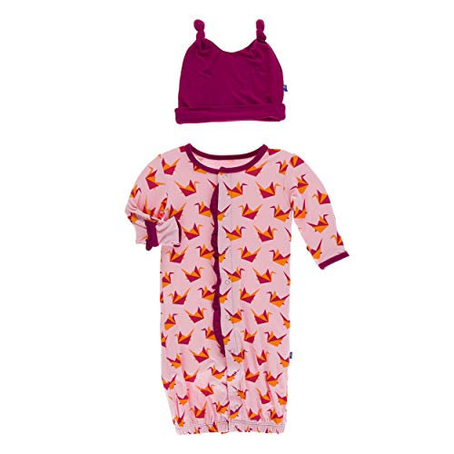Kickee Pants Little Girls Print Ruffle Layette Gown Converter Double Knot Hat Set - Lotus Origami Crane, 0-3 Months