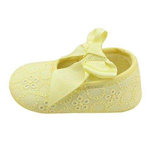 Hunpta Neue Baby jungen Mädchen Schuhe Baumwolle Band Bowknot weichen unteren Blume Prewalker (11, Schwarz) Gelb