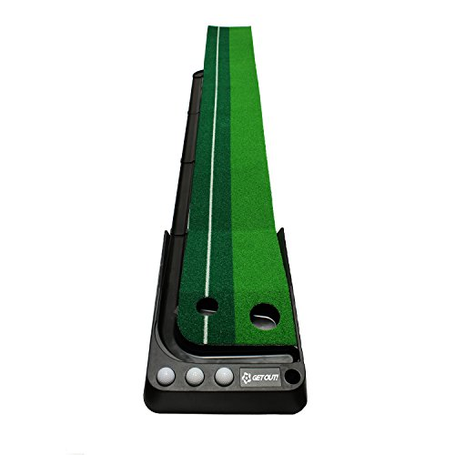 (Get Out! Putting Green Golf Mat with Putting Mat, Return, and Golf Balls - Outdoor & Indoor Putting Green Putting Aid)