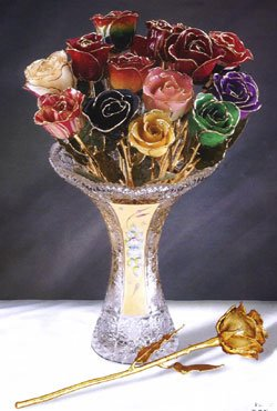Long Stem Dipped 24K Gold Trim Gypsy Rainbow Rose in Gift Box by Allmygold Jewelers