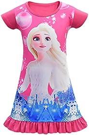 N /A Girl Nightgown Princess Nightdress Cute Sleepwear Kid Cartoon Pajamas Summer Casual Dress