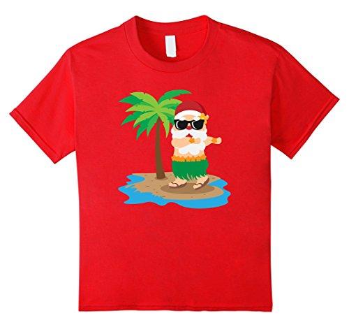 Kids Santa Hawaiian Shirt Christmas Hula Dancing Claus Summer Tee 4 Red (Mean Girls Christmas Dance Costume)