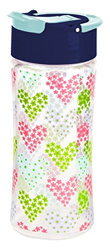 Fit & Fresh Kids' Reusable Water Bottle, Made of BPA Free Tritan Plastic with Leakproof Flip-up Cap and Carry Handle, 16 ounces, Heart Flowers