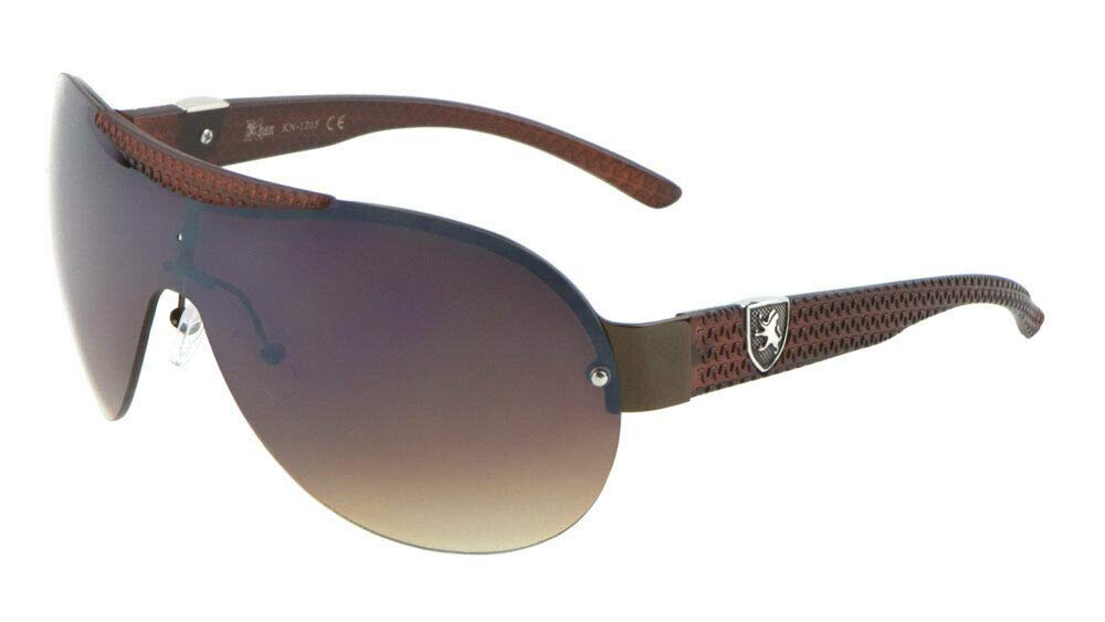 Khan Semi Rimless Sport Shield Wrap Around Aviator Sunglasses (Brown & Bronze Frame, Brown Gradient Lens) by Dweebzilla