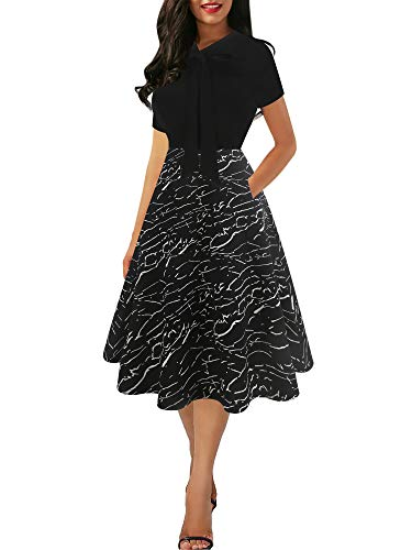oxiuly Women's Vintage Chic Bow Tie V-Neck Classic Black White Stripe Work Casual A-line Midi Dress with Pockets OX278 (M, BK-WStripe)