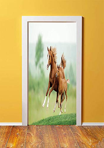 (Horse Decor 3D Door Sticker Wall Decals Mural Wallpaper,Running Chestnut Horses Mare and Foal Meadow Scenic Summer Day Outdoors,DIY Art Home Decor Poster Decoration 30.3x78.10958,Light Brown Green)