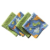 """Funkins Reusable Cloth Napkins for Kids   Lunch Boxes   Eco-Friendly   Machine Washable, Durable   Name Tag   Set of 4, 12""""x12"""" Soft Cotton Napkins, Dinosaurs"""