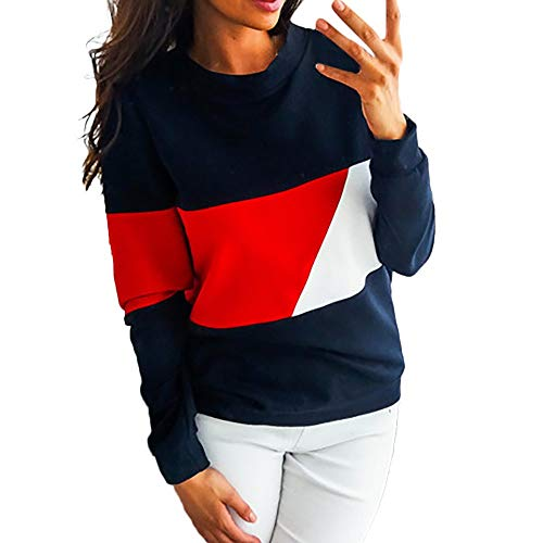 Color Multiplexer - SMALLE ◕‿◕ Clearance,Sweatshirt for Women, Casual Color Block Long Sleeve Pullovers Sweatshirt Blouse Tops