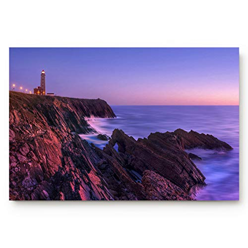 Natural Outdoor Lighthouse Accent (CHARMHOME Indoor Door Mats Rubber Entrance Rug Floor Mats Shoe Scraper Doormat Non Slip Backing, A Lighthouse On The Coast at Dusk, 23.6 X 15.7Inch)