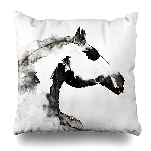 Ahawoso Throw Pillow Cover Horse Drawn Ink On White Sheet Tranquil Rice in Painting Wildlife Asia Design Mane Decor Zippered Cushion Case 18