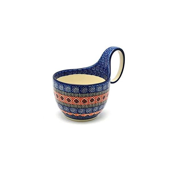 Polish Pottery Loop Handle Bowl – Aztec Sun