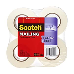 Scotch Tear-by-Hand Tape, 1.88 Inches x 50 Yards, 4-Pack (3842-4)