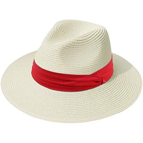 (Lanzom Women Wide Brim Straw Panama Roll up Hat Fedora Beach Sun Hat UPF50+ (Z-Red Ribbon Beige))