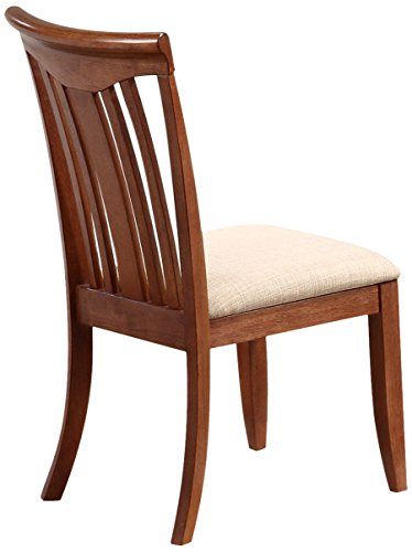 Iconic Furniture Modern Slat Back Dining Chair with an Upholstered Seat, Cinnamon Finish SET OF - Chair Upholstered Back Slat