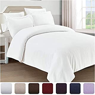 Mellanni Duvet Cover Queen Set 5pcs - Soft Double Brushed Microfiber Bedding with 2 Shams and 2 Pillowcases - Button Closure and Corner Ties - Wrinkle, Fade, Stain Resistant (Full/Queen, White)